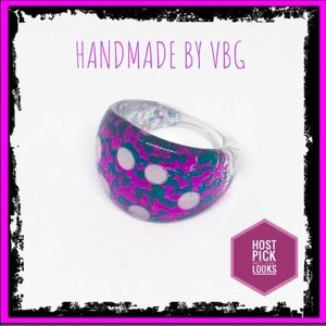 🆕 Fuchsia & Teal Spotted Sparkly Ring